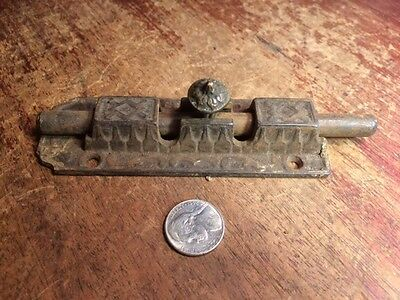 Large Vintage Latch door slide lock handmade ornate Victorian antique cast iron