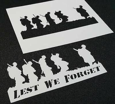 LEST WE FORGET Phrase Soldiers Troop Airbrush Stencil War Remembrance Occasion