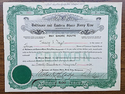 BALTIMORE & EASTERN SHORE FERRY LINE Stock Certificate - 1920