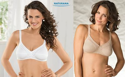 Naturana Non-Wired Bra 100% Soft Rib Cotton. Size 34-44, B - DD. White new