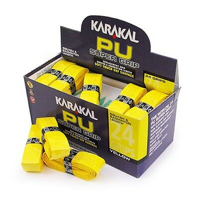 Karakal Super PU Replacement Grips Yellow - Squash - Badminton - Pack of 24
