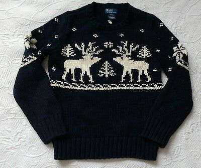 Polo Ralph Lauren Boys Knit Reindeer Christmas Navy White Crew Neck Sweater 8