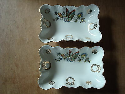 "2 x VINTAGE CHINA OBLONG BUTTERFLY DESIGN DISHES 6.25"" LONG AND 1.5"" DEEP"