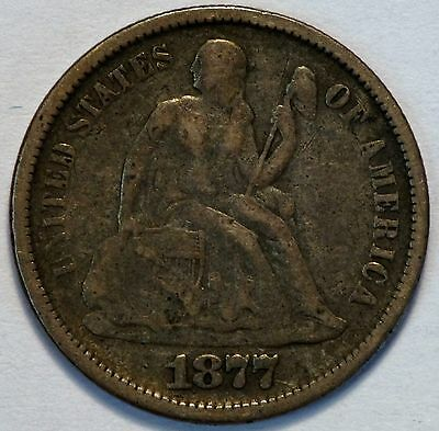 1877 S 10C US Seated Liberty Silver Dime Coin (05875)