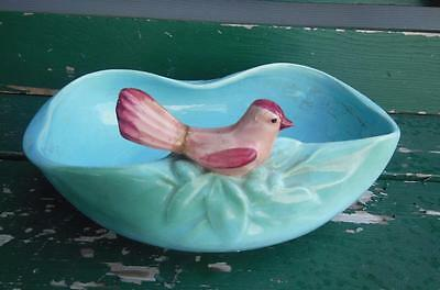 McCOY POTTERY PINK BIRD AQUA BLUE BIRD BATH BOWL DISH PLANTER HOLDER DISPLAY