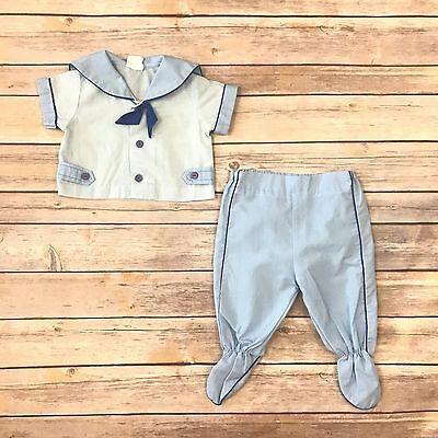 Boys Size 0-6m VINTAGE Blue Short Sleeved Sailor Shirt Footed Pants