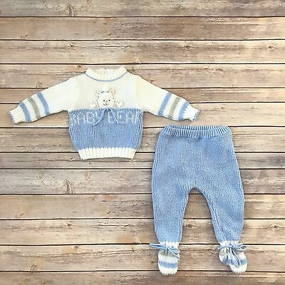 BABY TOGS Boys Size 6-9m VINTAGE Blue White Sweater Footed Pants