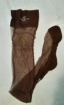 Vintage Fishnet Stockings Stockings , Queen Anne's Lace SZ 10 tailleur brown new