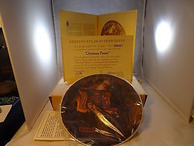 """Christmas 1978 - Norman Rockwell """"CHRISTMAS DREAM"""" Knowles Collector Plate w COA"""