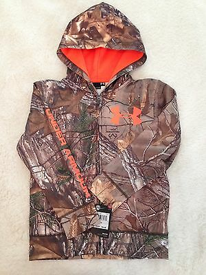NWT Under Armour Boys Realtree Camo Hoodie Hooded Zip Up Jacket Size  6