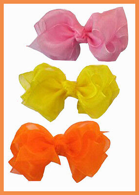 "50 BLESSING Good Girl Hairbow 4.5"" Double ABC Organza  Bow Clip Wholesale"