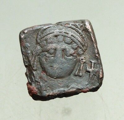 L6 Ancient Byzantine Bronze Weight made of Coin  L=14x14mm 4,2g Qualiti