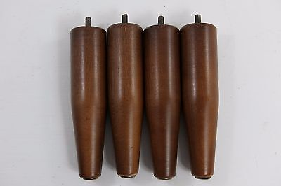 """LOT 4 Vintage Mid Century Modern Furniture Legs 7"""" Tapered Wood Wooden Brass End"""