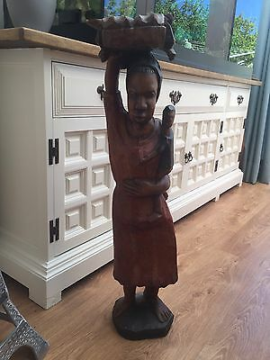 Vintage Carved Wood Wooden Figure Tall Lady With Child Indonesian Indian Heavy
