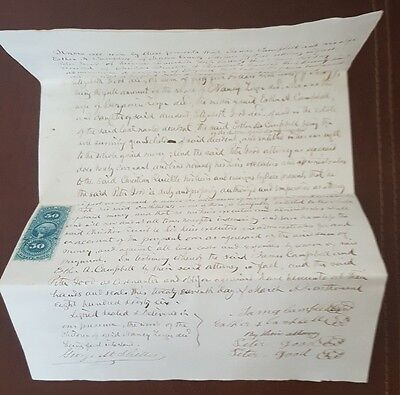 Antique 1866 Manchester Township York County Pennsylvania Deed Document Stamps