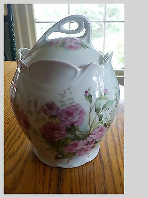 Antique Victorian Porcelain Biscuit Jar W Lid Pink Cabbage Roses