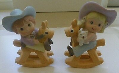 Home Interiors~Homco Cowgirl & Cowboy On Rocking Horse Figurines #1417