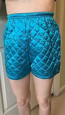 Vtg | JOSEPH KALI QUILTED SHORTS | TURQUOISE | Roller DISCO |High Waist | Size S