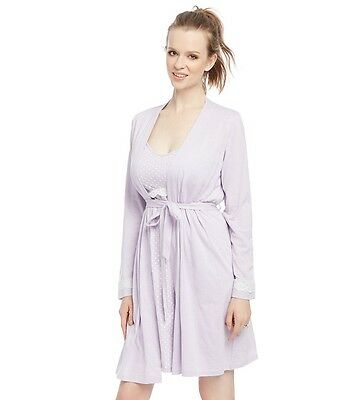 Oh Baby! Motherhood Nursing, Maternity Lilac Gown & Robe Set.Birth,Hospital Wear