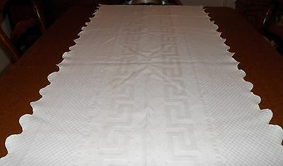 VINTAGE 1940-50's WHITE LINEN TABLE RUNNER-THICK TEXTURED 100% COTTON 83 X 27