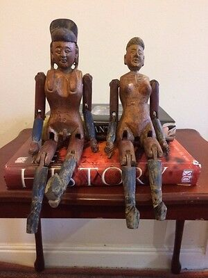 Vintage Chinese articulated fertility wooden figures