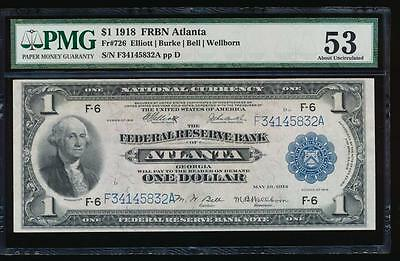 AC Fr 726 1918 $1 FRBN Atlanta PMG 53 spread eagle!