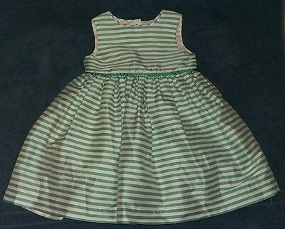 Stunning Baby Girls Mothercare Green White Striped Party Dress 12-18 months