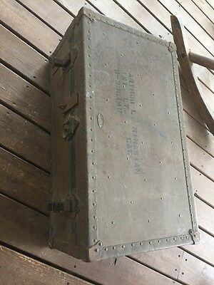 Vintage 1935 US Military World War 2 WWII Era OD Footlocker Trunk DATED