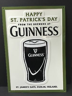 """Guinness Happy St. Patrick's Day Tin Metal Sign Embossed NEW & F/SH. 20"""" x 14"""""""