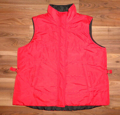 Womens Chaps Red Black Reversible Golf Vest jacket coat gold buttons warm 1X