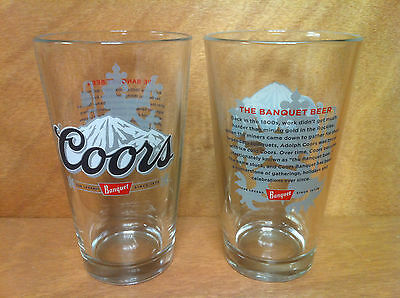 Coors Banquet Beer 16 oz Pint Glass Set of Two (2) Glasses NEW