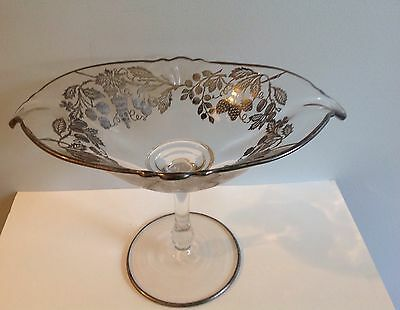 Heisey Glass Footed Compote Silver Overlay