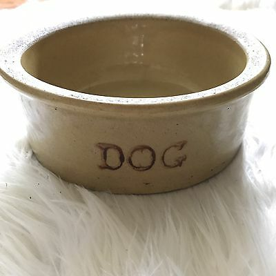 Vintage RRP Co Roseville Pottery Yellow Stoneware Crock DOG Water Bowl #200-7