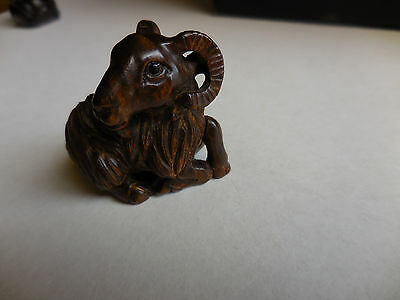 Artist signed antique Netsuke wood hand carved Mountain Goat