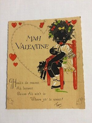 Vintage Antique Black Americana Valentine Card Little Girl Mah Valentine