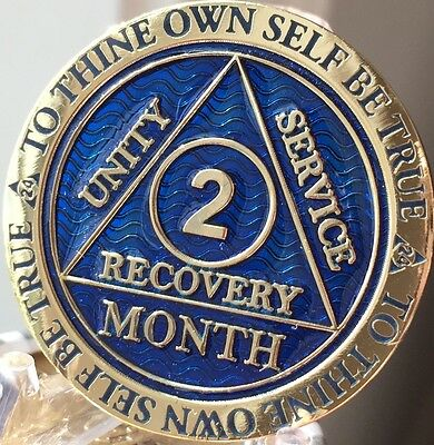 2 Month AA Medallion Reflex Blue Gold Plated 60 Day Sobriety Chip Coin