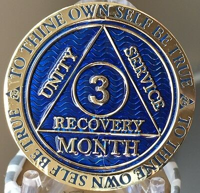 3 Month AA Medallion Reflex Blue Gold Plated 90 Day Sobriety Chip Coin