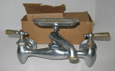 Vtg. Wall Mount Farm Utility Kitchen Sink Faucet Fixture with Soap Dish 1930's