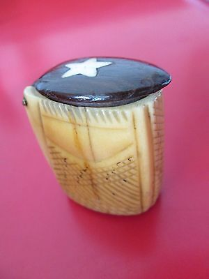 Antique 19th C  SAILORS  FOLK ART  SNUFF BOX   #5 OF 6 LISTED