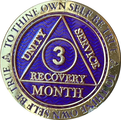 3 Month AA Medallion Reflex Purple Gold Plated Sobriety 90 Day Chip Coin