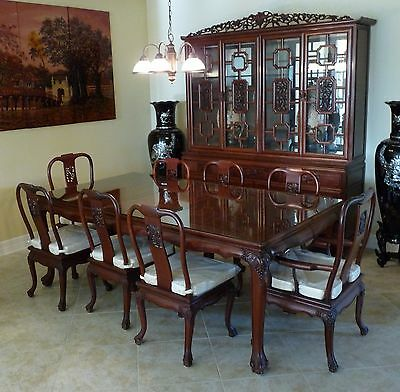 Vinatge Solid Rosewood Hand-carved Dining Table Set w/ China Cabinet Rare 15pcs
