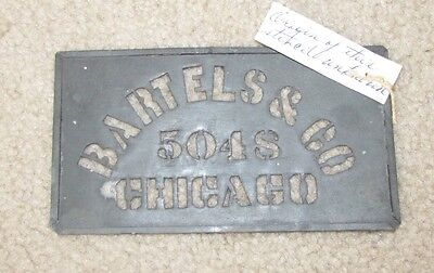 Vintage Bartels & Co 5048 Chicago Metal Box Stencil from Early 1900s
