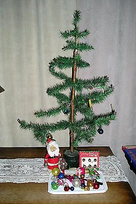 Old German Feather Christmas Tree with old Feather Ornaments