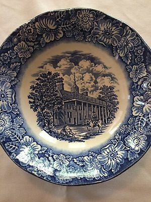 Vintage Staffordshire Liberty Blue China cereal bowls