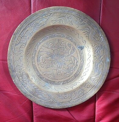 Antique/Vintage Chinese Cast Brass Charger Depicting Oriental Dragon Signed