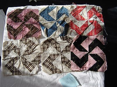 LOT L vintage antique QUILT BLOCKS large lot of 28 pin wheel wind mill 1930s-40s