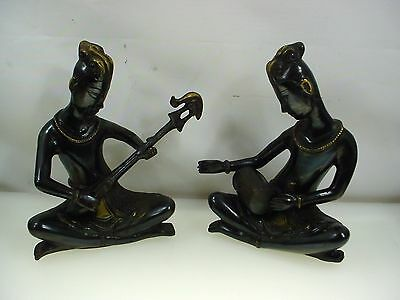 South Asian Bronze Figurines Pair South Asian Cast Bronze Statues