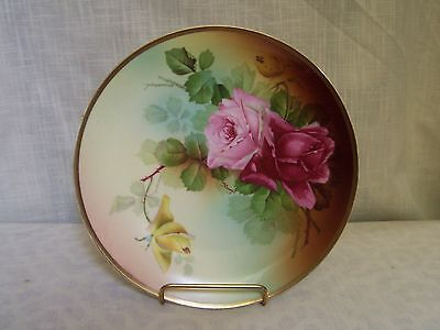 Pink Rose Porcelain Plate Gold Trim Hand Painted