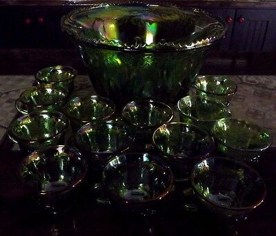 Vintage Indiana  Green Harvest Grape Punch Bowl & 13 Cups