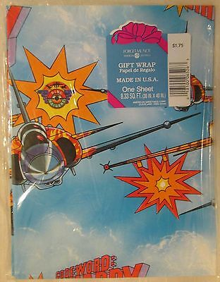Vintage American Greetings Gift Wrap, Ring Raiders TV Show, 8.33 Sq, FT, NOS